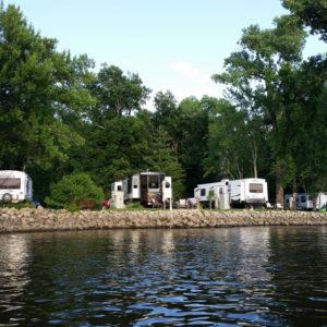 RV camping at Pettibone Resort in La Crosse, WI